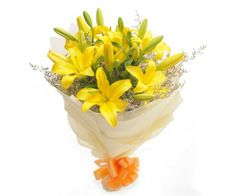 Yellow Lilies with yellow wrapping