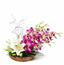 4 Purple Orchids 4 white lilies in a basket