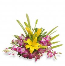 6 Purple Orchids 2 Yellow lilies in a basket