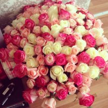 40 Pink and white roses basket