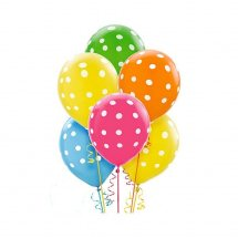 6 Air filled Polka dot balloons