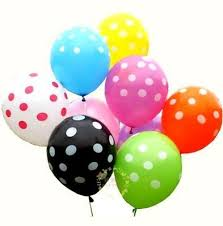 25 Air Filled Polka Dot mix coloured Balloons
