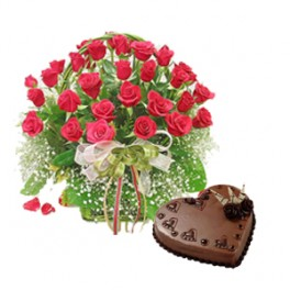 2 kg Heart Chocolate Cake + 24 red roses Basket