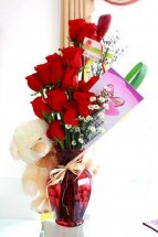 Teddy 12 Red Roses in Vase with Card