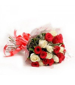 15 White and red roses hand tied