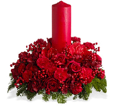 Red roses red carnatinon with red candle in middle