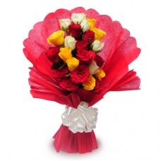 12 Assorted roses in bouquet with Red wrapping