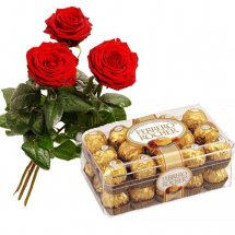 3 Red Roses 16 Ferrero rocher