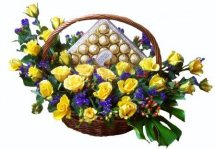 18 Yellow Roses 24 Ferrero rocher in the same basket