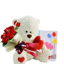 6 Red Roses bouquet Card and 6 inches Teddy