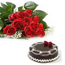 12 Red Roses +1 Kg Chocolate Cake