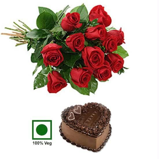 12 Red Roses 1 kg Eggless chocolate heart cake