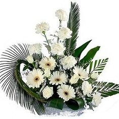 12 White Flower Basket