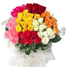 100 Multicoloured Roses Arrangement