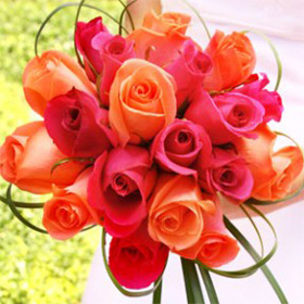 12 Red and Orange Roses Bouquet