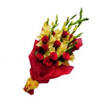 12 Yellow Gladiolli+ 12 Roses in Hand Bunch