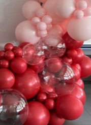 50 Red Pink and 3 Transparent balloons in a bouquet