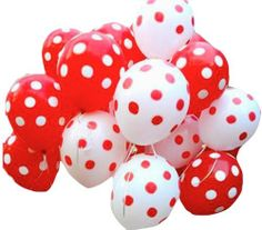 50 Air filled Polka dot red and white balloons