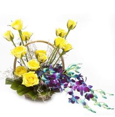4 Blue Orchids 12 Yellow roses in Basket