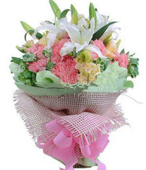 White Lilies with Pink Carnations in a bouquet