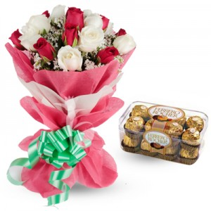 Ferrero rocher with Pink and white flowers bouquet