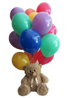12 Air Balloons 12 inches Brown Teddy bear