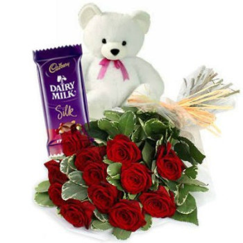 12 Red roses with 6 inches Teddy and one Silk chocolate