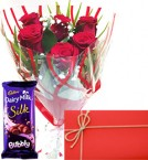 1 Cadburys Silk with 6 red roses and Card