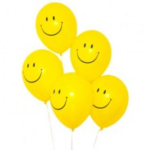 5 Air filled SMILEY balloons