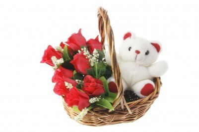Teddy 6 inches+6Red Roses in same basket