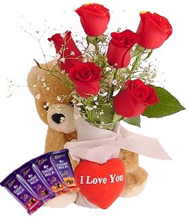 Teddy bear (6 inches each) and 6 Red roses 4 silk