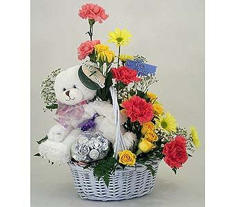 6 inches Teddy in a basket of 12 Mix flowers