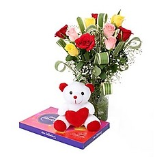 8 Mix roses in vase 6 inches teddy and Celebration Chocolate Box