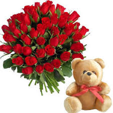 Teddy With 24 Red Roses