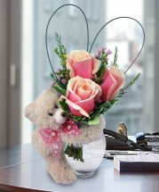 3 Pink roses in vase with 6 inches Teddy bear