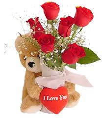 6 red roses 6 inch Teddy Valentine heart