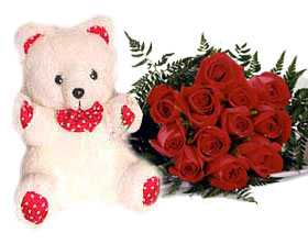Teddy (6 inches) With 12 Red Roses