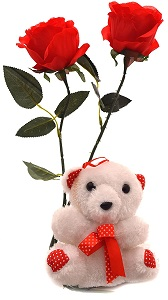 Teddy 12 inches+2 Red Roses