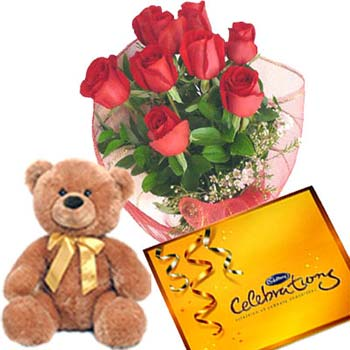 Teddy (6 inches) with 12 Red Roses+Cadburys Celebration Pack