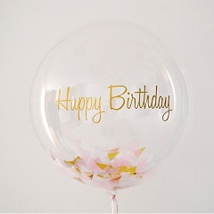Rose petals Inside a transparent balloon with happy Birthday print on balloon