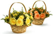 Two Baskets 12 Yellow and 12 Orange roses