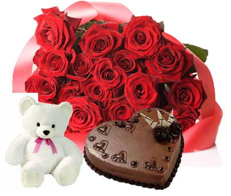 1 Kg chocolate heart cake Teddy 12 red roses