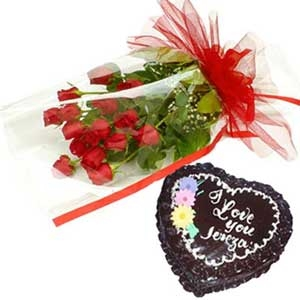 1 Kg Heart chocolate Cake with 12 Red roses bouquet