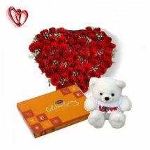 24 red roses heart with Teddy 6 inches Teddy and Celebration chocolate box