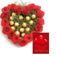 A heart of 20 Red Roses 16 Ferrero and Card