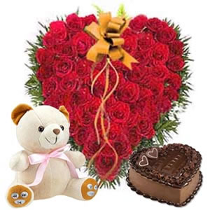 25 Heart shaped roses + 1 kg cake + Teddy