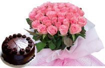24 Pink roses Bunch+1/2 Kg cake