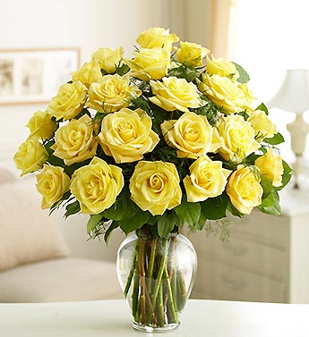 2 Dozen Yellow Roses in Vase