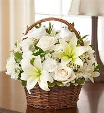 White Lilies with WHITE Roses in basket