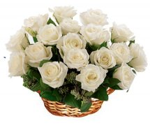 20 White roses basket